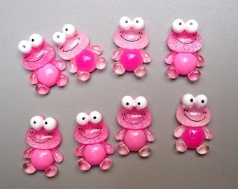 8 cabochons resin frog 22 x 15 mm.