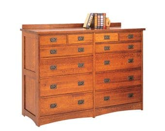 Classic Stickley Style Mission Oak 12 Drawer Mule Chest Dresser