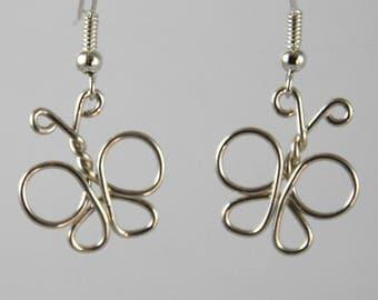 Silver plated copper butterfly earrings