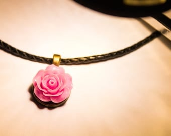 Colorful Peony Leather Necklace