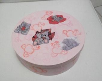 Round box pink fluffy Teddy