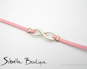 Suede infinity bracelet - pink (B21 - 6)