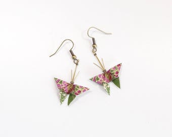 Jewelry Origami Butterfly Stud Earrings in plum, green and Golden Japanese paper