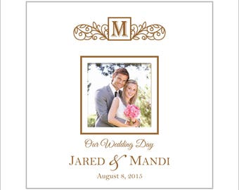 "Wedding Photo Album, Personalized ""Our Wedding Day"" Picture Album, Holds 200 4x6 Photos, Faux White Leather"