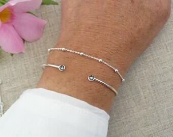 Sterling Silver Bangle, Swarovski Crystal blue rhinestone bracelet