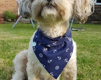 Dog Bandanas (for Dogs, Cats & Puppies) in Navy Nautical Sailor style from The Bandana Cabana