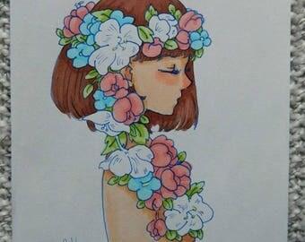Flower Girl Marker Drawing