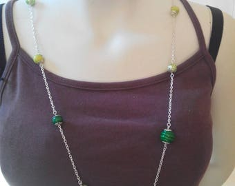 Green wooden beads and silver necklace