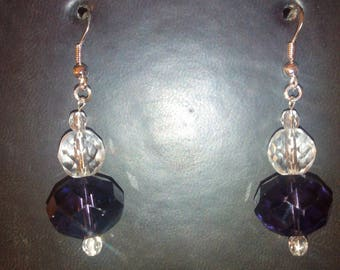 Earrings Silver 925/1000 and quartz glass