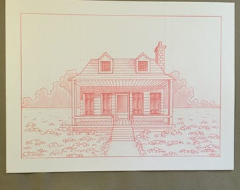 The old farmhouse: drawing in red pencil on watercolor paper.