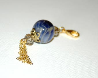 Bag blue and gold beads