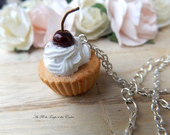 Gourmet Cupcake necklace with a small cherry