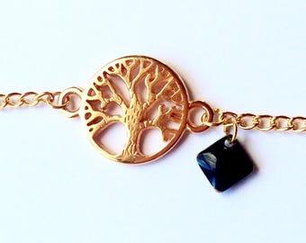 Fine minimalist tree of life chain bracelet gold copper