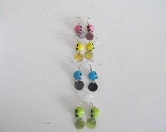 Skull earrings various colors