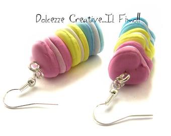 Macaroons earrings - Pastel - miniatures - pastel Goth heart