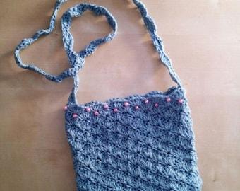 Small crochet shoulder bag with cotton webbing shoulder strap bag with beaded clutch bag handbag blue avio pink embroidered