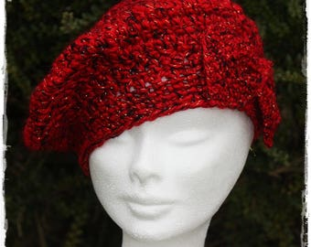 Woman black and Red crochet bow beret. french touch.
