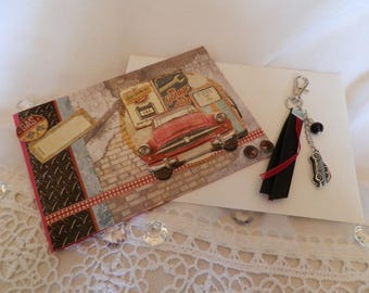 """Card 3D """"vintage car"""" and her cub keychain"""