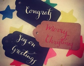 Personalised calligraphy gift tags / place settings