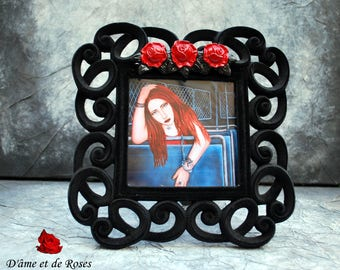 """baroque frame with photo of the painting """"Prisoner in the dark to an unknown place"""""""