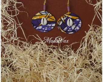 African wax fabric and cowrie shells earrings