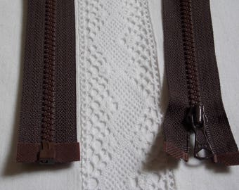Molded separable 60 cm dark brown chocolate zipper
