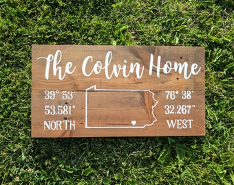 Custom Home Sign | Last Name | Map | Coordinates | Home Decor | Reclaimed Wood Sign | Personalized