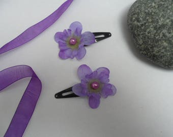 Hair clip for kids or baby with purple dephinium artificial