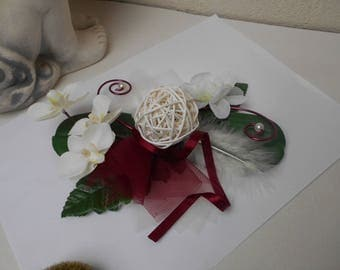 Table centerpiece - ivory and Burgundy floral decoration