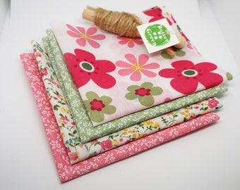 Ditsy Floral Peach and Green Poly Cotton Fabric Bundles, Fat Quarters, 25cm x 25cm