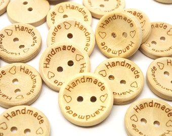 Natural 'Handmade'  Round 2 hole wooden buttons 20mm
