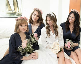 Silk Bridesmaid Robes -Robes for Bridesmaids- Floral Bridesmaids Robes -Satin Bridesmaids Robes - Kimono Bridesmaids Robes - Bridesmaid Gift