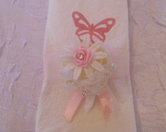 towel color white rattan round / pink