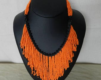 """Bamba"" orange tribal beads necklace"