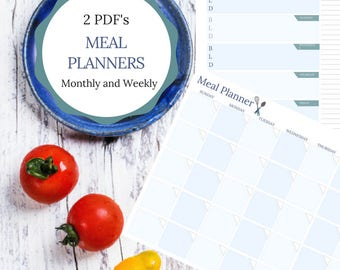 Meal Planner Printable | Weekly Monthly Meal Planners | Meal Planning | Food Journal | Instant Download | Modern Meal Planner Download