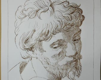 Head of an apostle: drawing in pen and Walnut
