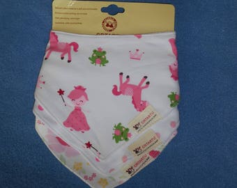 Beautiful bandana - pink bibs and ponies, 3 double Terry, double snap on the back - nine.