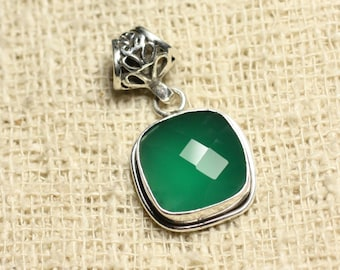 Pendant 925 sterling silver and stone - 13mm square green Onyx