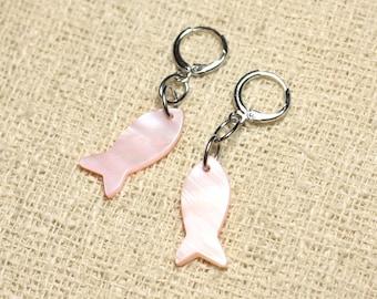 Fish 23mm salmon Pastel Pink Pearl Earrings