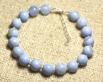 Bracelet 925 sterling silver and semi precious stone - Agate blue clear 8mm