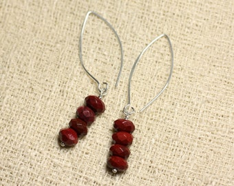 Stone - red faceted Rondelle 8x5mm Moukaite Jasper and 925 Sterling Silver earrings