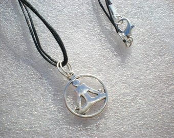 Collier zen meditation pendant on a double black cord