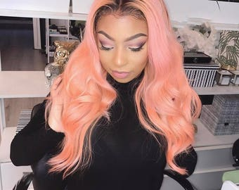 Pink 360 Human hair wig Brazilian body Wave/ 360 Full Lace Wig / Lace front Wig/ custom wig / Virgin human hair wig / Wig Sale /body wig