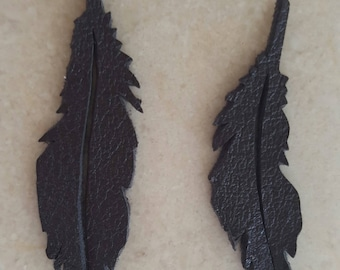 set of 5 appliques feather made of 100% lamb leather