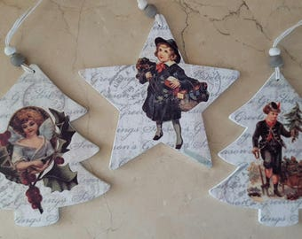 Set of 3 Christmas Decorations wooden 13 cm