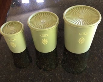 Tupperware set of 3 canisters Flour, Sugar, Tea, Vintage,Avocado olive green,made in USA, Vintage Tupperware Canister Set Super nice