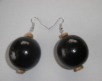 Black ball earring