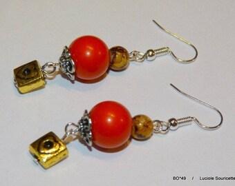 BO * 49 fancy gold heart earrings