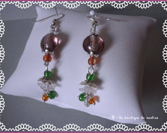 Retro, Bohemian, flowers and pearls earrings