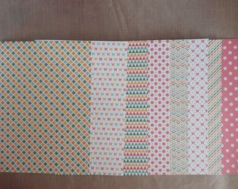 """8 scrapbooking papers with glitter / 5.75 x 8.25 """"(14.8 cm x 21 cm)-set no. 3"""